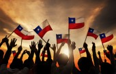 People Holding Flags of Chile — Stock Photo