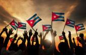 People Holding Flags of Cuba — Zdjęcie stockowe