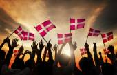 People Holding the Flags of Denmark — Stock Photo