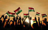 People Holding the Flags of Hungary — Stock Photo