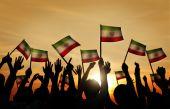People Waving the Flags of Iran — Zdjęcie stockowe