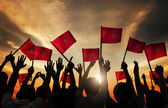 People Holding Flags of Morocco — Stock Photo