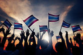 People Waving Flagd of Thailalnd — Stock Photo