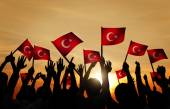 People Holding the Flags of Turkey — Stock Photo