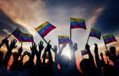People Waving Venezuelan Flags — Stock Photo