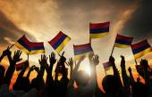 People Waving Armenian Flags — Stock Photo