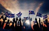 People Waving Icelandic Flags — Stock Photo