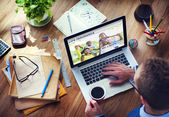 Man using laptop with Life Insurance — Stock Photo