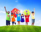 Children Playing Kites — Stock Photo