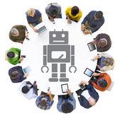 Multiethnic People with Robot Symbol — Stock Photo