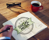 Man with Social Media Concept — Stock Photo