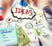 Messy Desk with Ideas Concepts — Stock Photo