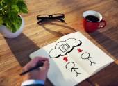Not defterinde işadamı çizim — Stok fotoğraf
