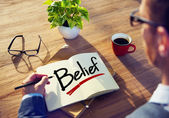 Man Brainstorming About Belief — Stock Photo