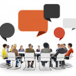 People in Meeting with Speech Bubbles — Stock Photo #63110467