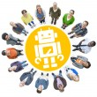 Cheerful People with Robot Symbol — Stock Photo #63110609
