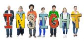 Diverse People Holding Insight — Stock Photo