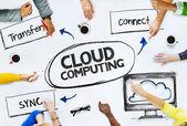 Pessoas de negócios, apontando para a computação em nuvem — Fotografia Stock