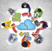 People and Cloud Computing Concepts — Stock Photo