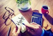 Man writting help word — Stock Photo