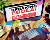 Digital Online Breaking News of Ebola Crisis — Stock Photo