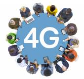 People Socail Networking with 4G — Stock Photo