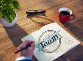 Man and Single Word Team — Stock Photo