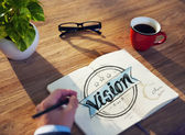 Man and Single Word Vision — Stock Photo