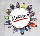 People Around word Motivate — Stock Photo