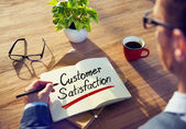 Man and Word Customer Satisfaction — Stock Photo