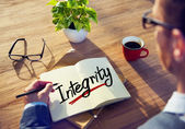 Man and Single Word Integrity — Foto de Stock