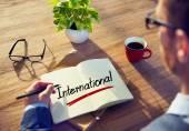 Man and Single Word International — Stock Photo