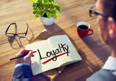 Man and Single Word Loyalty — Stock Photo