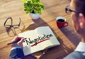 Man and Single Word Negotiation — Stock Photo