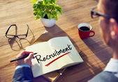 Man and Single Word Recruitment — Stock Photo