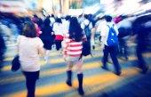 Grupo de pessoas pedestre hora do Rush — Fotografia Stock