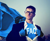 Businessman with FAQ on t-shirt — Stock Photo