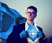 Superhero with target on t-shirt. — Stock Photo