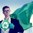 Superhero with  Recycle sign — Stock Photo #63120019