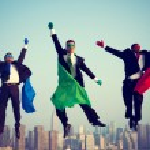 Superhero Businessmen Flying — Stock Photo #63120725