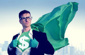 Super-héros avec signe du dollar — Photo