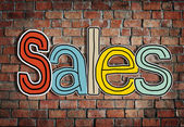 The Word Sales on Brick Wall — Fotografia Stock