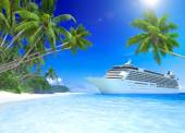 Cruise Ship and Tropical Beach — Stock Photo