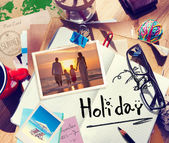 Desk with Summer Photographs — Stock Photo