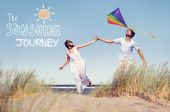 Couple Playing with Kite — Stock Photo