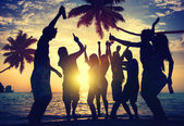 Multi-ethnic People Partying on beach — Stock Photo