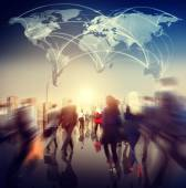 People Walking and world map — Stock Photo