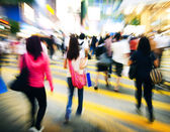 People Road Crossing in Hong Kong — Stock Photo