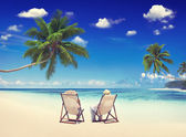 Couple Relaxation at  Vacation on Summer Beach — Stock Photo