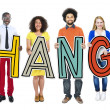 Group of People Standing Change Letters — Stock Photo #71571737